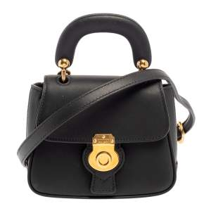 Burberry Black Leather Mini DK88 Top Handle Bag