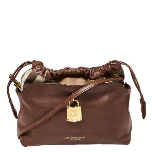 Burberry Brown Leather and House Check Canvas Little Crush Shoulder Bag