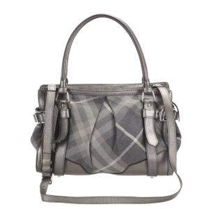 Burberry Black/Grey Beat Check Canvas Lowry Bag