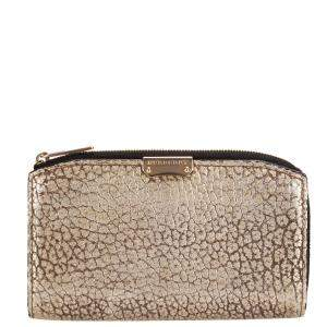 Burberry Metallic Gold Camel Grained Leather Alvington Continental Wallet