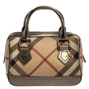 Burberry Beige/Metallic Nova Check PVC Chester Boston Bag