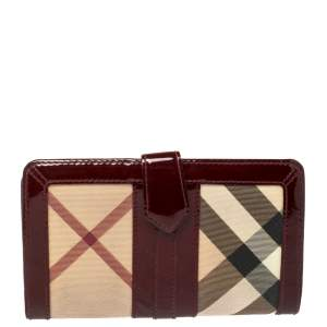 Burberry Beige/Red PVC and Patent Leather Penrose Continental Wallet