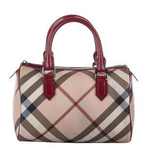 Burberry Brown/Beige Supernova Check Canvas Boston Bag