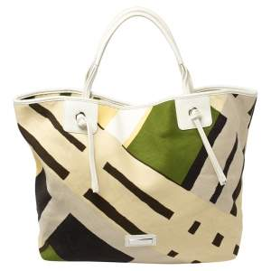 Burberry Multicolor  Canvas And Leather Tote