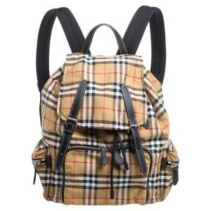Burberry Beige Vintage Check Nylon and Leather Rucksack Backpack