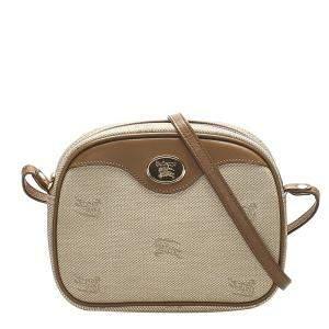 Burberry Brown/Beige Canvas Crossbody Bag