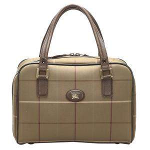 Burberry Brown Plaid Canvas Boston Bag