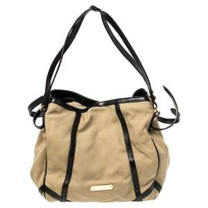 Burberry Khaki/Black Canvas and Leather Canterbury Tote