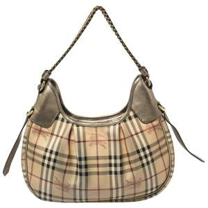 Burberry Beige/Metallic Haymarket Check PVC and Leather Chain Strap Hobo