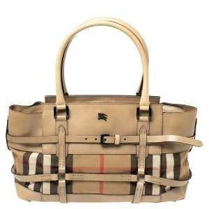 Burberry Beige Leather and House Check Canvas Bridle Satchel