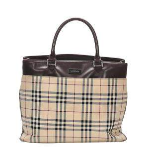 Burberry Brown/Beige House Check Canvas Satche Bag