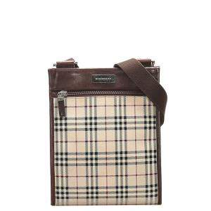 Burberry Brown/Beige House Check Canvas Crossbody Bag