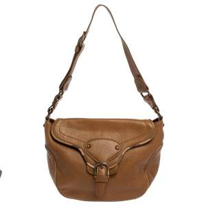 Burberry Brown Pebbled Leather Buckle Flap Shoulder Bag