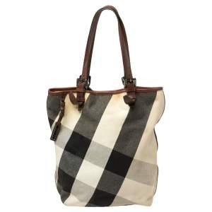 Burberry Brown/Beige Mega Check Canvas and Leather Victoria Tote