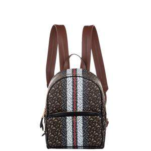 Burberry Brown Monogram Canvas Stripe Print Backpack Bag