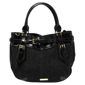 Burberry Black Woven Straw and Leather Buckle Shoulder Bag