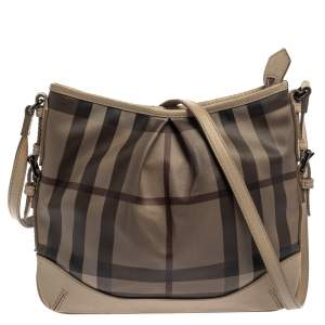 Burberry Beige Smoke Check PVC and Leather Hartham Crossbody Bag