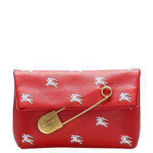 Burberry Red Leather Safety Pin Clutch Bag
