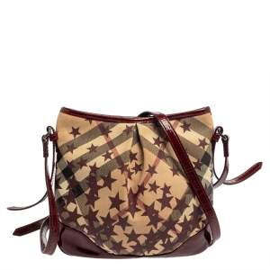 Burberry Red/Beige Supernova Check Star Coated Canvas And Patent Leather Crossbody Bag