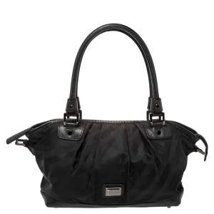 Burberry Black Tonal Check Nylon and Leather Satchel