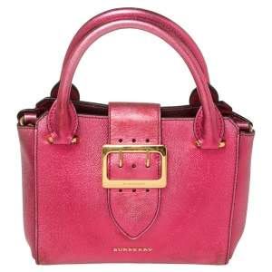 Burberry Pink  Leather Buckle Tote