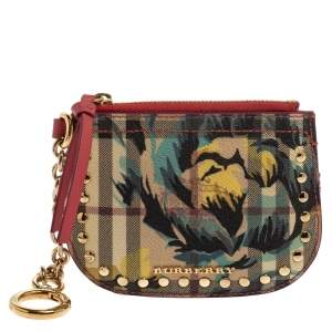 Burberry Multicolor Haymarket Flower Check Coated Canvas Izzy Zip Pouch