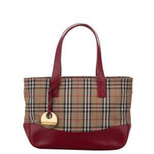 Burberry Brown/Beige Haymarket Check Canvas Tote Bag