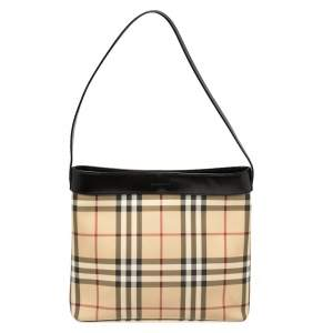 Burberry Beige House Check PVC and Leather Shoulder Bag