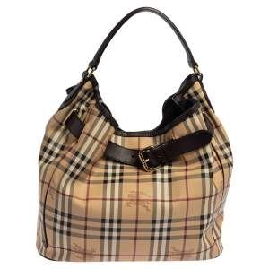 Burberry Beige/Brown Haymarket Check PVC and Leather Walden Hobo