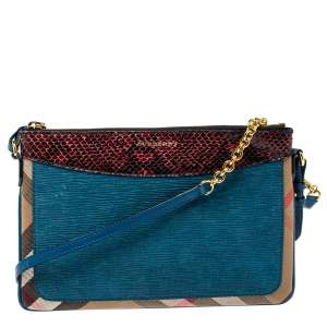 Burberry Multicolor Check Canvas, Leather and Snakeskin Peyton Crossbody Bag