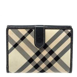 Burberry White/Black Beat Check Nylon and Leather Compact Wallet