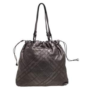 Burberry Metallic Lasercut Soft Leather Drawstring Tote