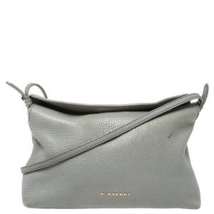 Burberry Ash Grey Grained Leather Leah Crossbody Bag
