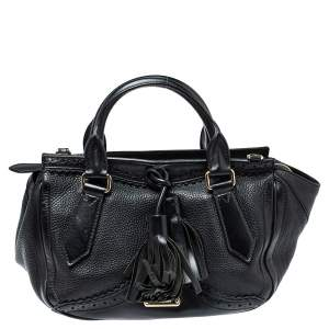 Burberry Black Brogue Leather Tassel Satchel