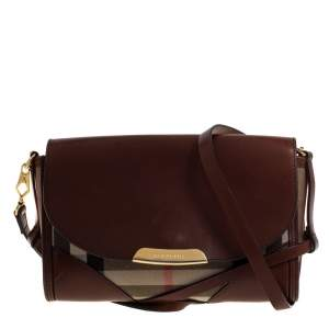 Burberry Brown/Beige House Check Canvas and Leather Abbott Shoulder Bag