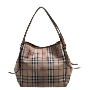 Burberry Brown/Beige Haymarket Check PVC and Leather Small Canterbury Tote