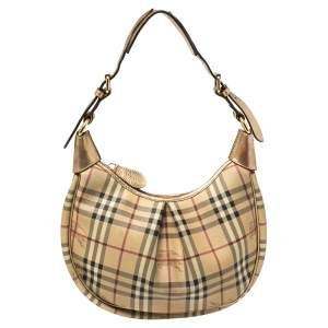 Burberry Beige/Gold Haymarket Check Coated Canvas and Leather Pleated Hobo