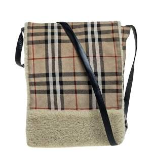Burberry Beige House Check Suede and Shearling Flap Shoulder Bag