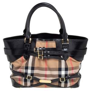 Burberry Black House Check Canvas and Leather Medium Bridle Lynher Tote