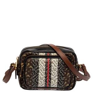 Burberry Brown TB Monogram Coated Canvas and Leather Camera Bag