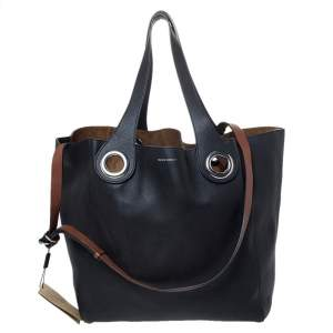 Burberry Black Leather Large Grommet Detail Tote
