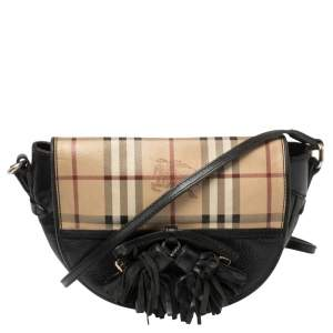 Burberry Black Haymarket Check Leather Maydown Crossbody Bag