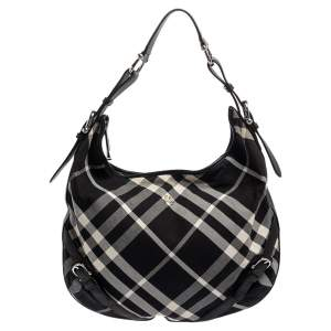 Burberry Black Check Canvas and Leather Large Larkin Hobo