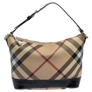 Burberry Beige/Black Nova Check Coated Canvas and Leather Baguette Shoulder Bag