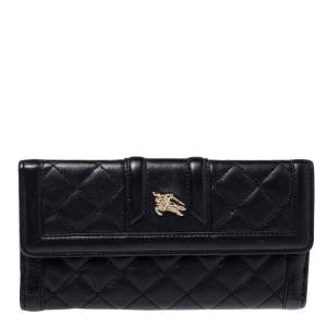Burberry Black Quilted Leather Flap Wallet