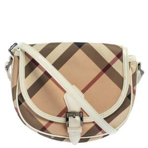 Burberry Beige Nova Check Canvas And Patent Leather Shoulder Bag
