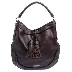 Burberry Dark Brown Leather Tassel Hobo