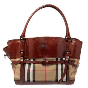 Burberry Brown/Beige House Check Canvas  and Leather Belted Tote