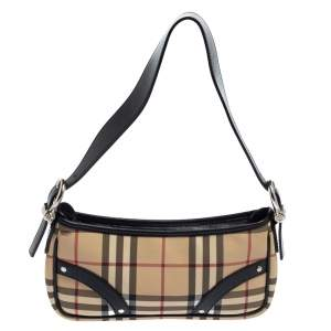 Burberry Black/Beige House Check PVC and Leather Pochette Bag
