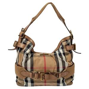 Burberry Beige House Check Canvas and Leather Medium Parsons Hobo